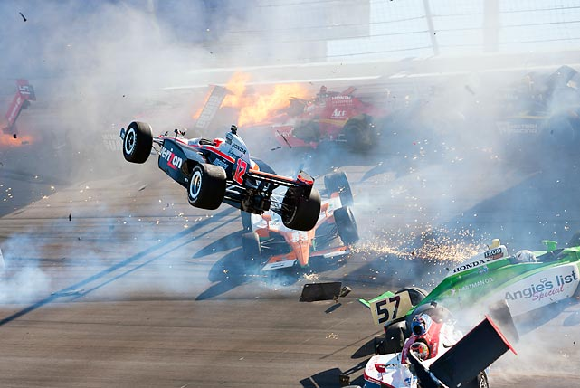 Australian driver Will Power's car was launched into the air during a crash at the IZOD IndyCar World Championship in October. It proved to be one of the most devastating accidents of all-time: Dan Wheldon, just 33-years-old at the time, lost his life as a result.