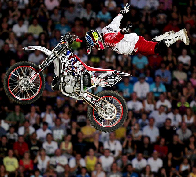 Look, no hands! Japan's Eigo Sato performed a high-flying trick at the Red Bull X-Fighters World Tour in Portland in August.
