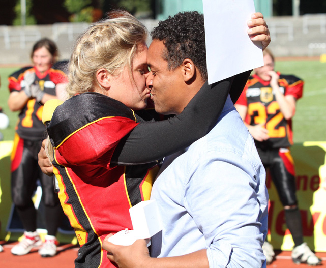 Germany female football player Sabrina Bauer accepts a marriage proposal from former team manager Christian Dje in 2011.