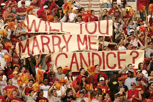 During USC's 52-28 win over the Oregon State Beavers in 2003 this sign surfaced at Los Angeles Coliseum. Candice's answer is unknown.