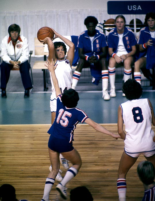 Summit, the captain of the U.S. team, takes a jump shot during the 1976 Summer Olympics. As a player she won an Olympic Silver medal in 1976 and a Pan American games gold in 1975.
