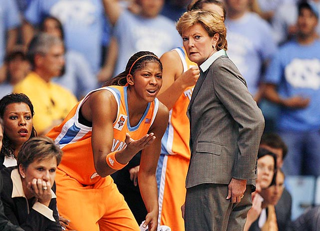 Summit talks to star guard Candace Parker during a December game against North Carolina. Parker was the 2008 Naismith and Wooden award winner. She and Summit won two NCAA championships together.