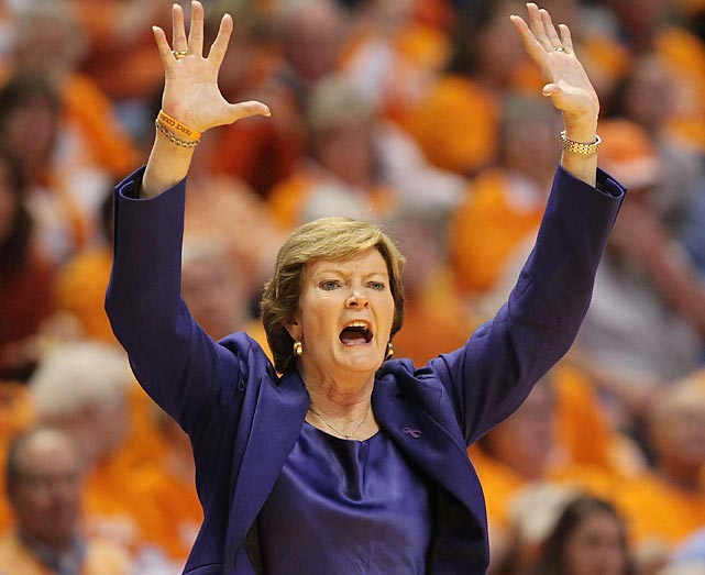 Summit looks on as her Tennessee Lady Vols take on the Baylor Bears in the NCAA Tournament. In 2011 Summit lead the Lady Vols to an SEC Championship and was named conference coach of the year for the eight time.