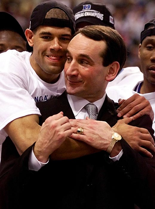 NCAA tournament MVP Shane Battier congratulates his coach after defeating Arizona 82-72 to win the national title. It was Krzyzewski's third NCAA championship.