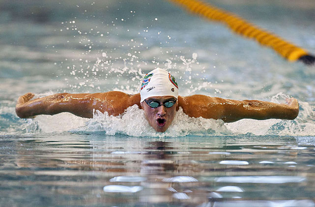 With a Florida Gators cap on his head, Ryan Lochte swims in the men's 200-meter individual medley on Thursday Dec. 1. Lochte would finish sixth.