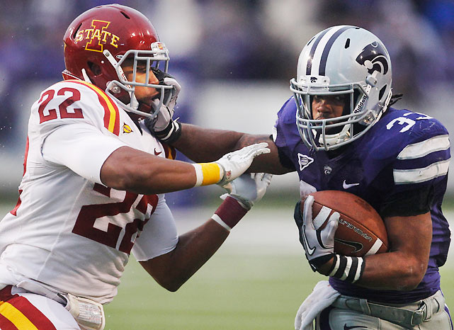 Iowa State put up a good fight, but John Hubert (pictured) saved the day with a 26-yard touchdown dash to give Kansas State the final edge. The Wildcats improved to 10-2 with the victory.