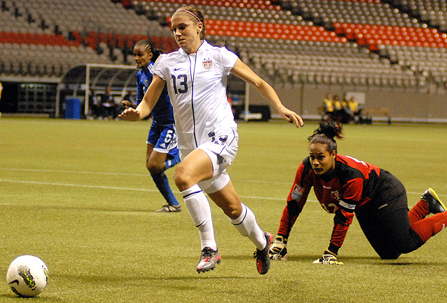 The U.S. faced the Dominican Republic in the first game of their CONCACAF Olympic qualifying tournament, and easily won 14-0. Alex Morgan assisted on Amy Rodriguez's fifth, record-tying goal of the game.