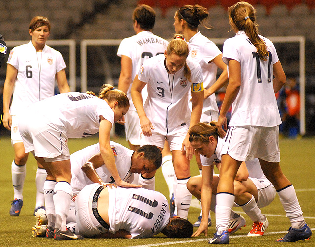 Defender Ali Krieger went down with a knee injury during the U.S.'s game against the Dominican Republic.