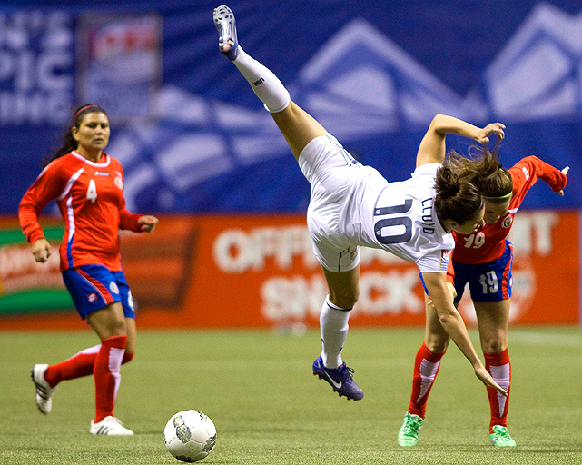 Carli Lloyd shows off some acrobatics moves after colliding with Costa Rica's Fabiola Sanchez. Lloyd scored the U.S.'s second goal in the 72nd minute of the game.