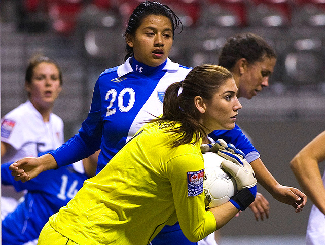 Goalie Hope Solo allowed no goals against the Dominican Republic and Guatemala.