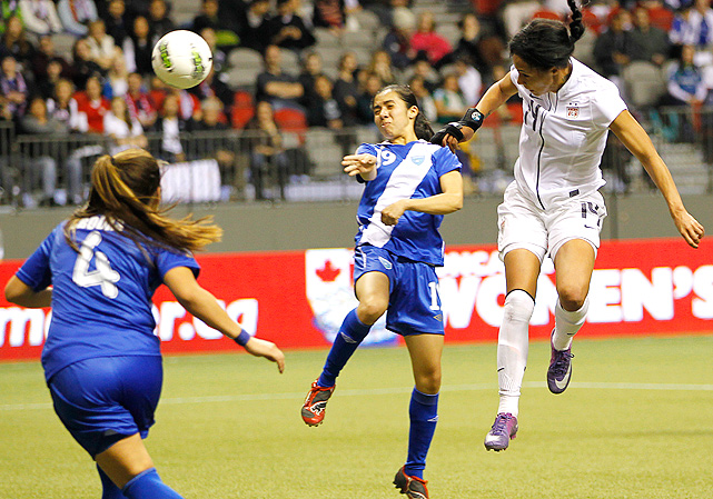 Forward Sydney Leroux tied a U.S. record (earlier tied by Amy Rodriguez against the Dominican Republic) by scoring five goals in the second half against Guatemala.
