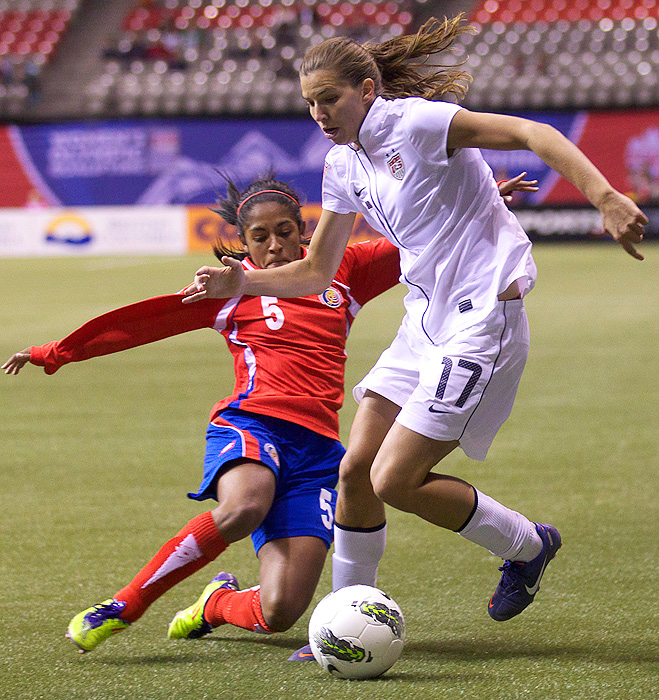 The U.S. and Costa Rica battled in the semifinal round of the CONCACAF Olympic qualifying tournament - an important match, because the winner automatically qualified for the Olympics and went onto the tournament finals. Tobin Heath's goal in the 16th minute put the U.S. on the board first, and combined with two other goals, the U.S. sealed their 3-0 win and a trip to London.