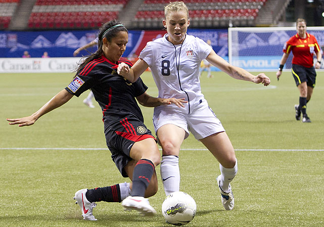 Amy Rodriguez (pictured) and veterans Shannon Boxx and Abby Wambach were subbed out early as the U.S. preserved energy for a London-or-bust match with Costa Rica on Friday.