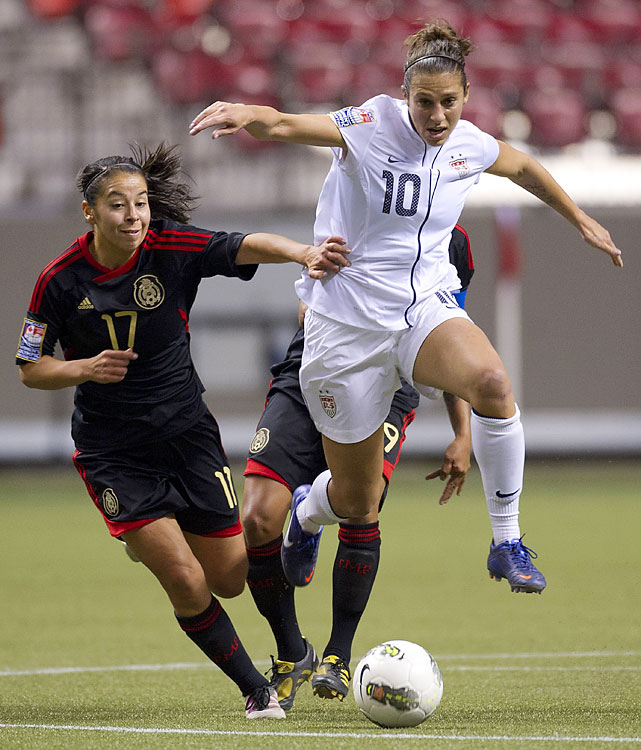 Carli Lloyd scored a hat trick in the U.S.' 4-0 win over Mexico to reach the semifinals.