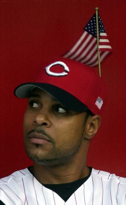 Larkin shows his patriotism before a September 2001 game against the Chicago Cubs.