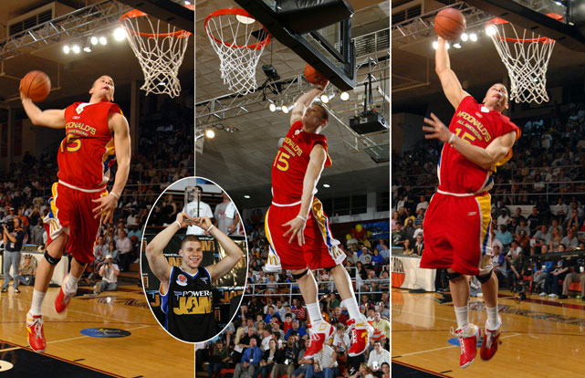 Griffin scored a perfect 50 on his first dunk (far left) and a 41 on his second dunk (center) to win the 2007 McDonald's All-American slam dunk competition. Shocker.