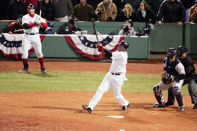Boston sets baseball history by becoming the first team to rally from a 3-0 deficit in games. Red Sox come from behind to win Games 4 and 5 in extra innings at Fenway Park, then dominate the Yankees in Games 6 and 7 at Yankee Stadium. Red Sox later sweep the St. Louis Cardinals for first world championship in 86 years.