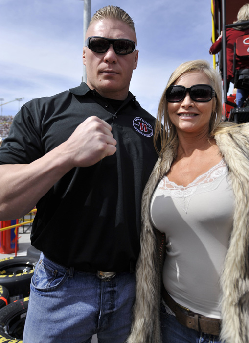 Family Photo: Brock and his wife, Rena Mero, snap a pic before the start of the Kobalt Tools 400 NASCAR Sprint Cup series race in Las Vegas in March 2011.