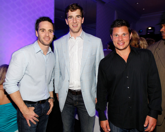 Eli hangs out with NASCAR driver Jimmie Johnson and singer/reality TV dude Nick Lachey.