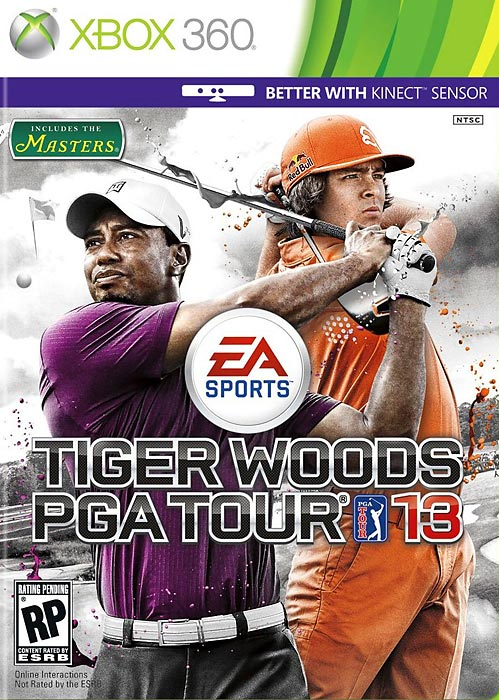 Tiger Woods is joined on the North American cover of PGA Tour 13 by Rickie Fowler. The European release of the game pairs Tiger with Rory McIlroy. PGA Tour 13 is optimized to work with the Xbox Kinect and Sony Move, though you can still play it with standard controllers. The game features more than 20 courses including Augusta National, St. Andrews and Pebble Beach, though some courses will only be available in the collectors' edition, through pre-sale promotions and via download on Xbox Live and the PlayStation Network. Tiger Woods PGA Tour 13 is scheduled to be released March 27.