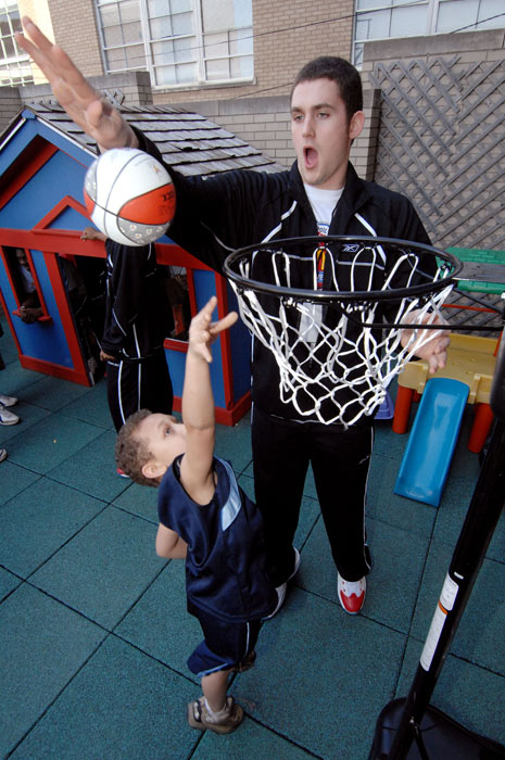 The 2007 McDonald's All-American National High School Player of the Year shot hoops with Quentin Harris during a visit to a Ronald McDonald House in Louisville.