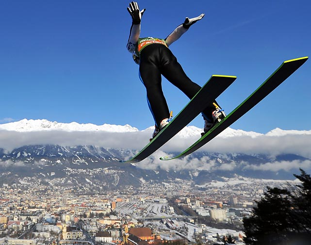Austria's Stefan Kraft flies through the air during a practice run at a Ski Jumping World Cup event.