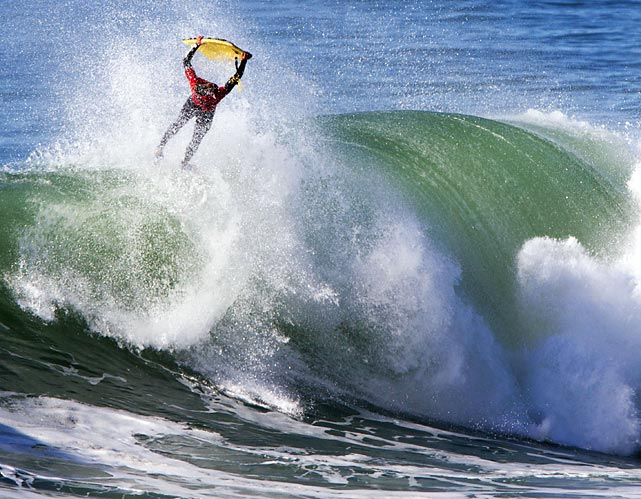 Portuguese body boarder Tiago Silva gets some air at an International Body Boarding Association event.