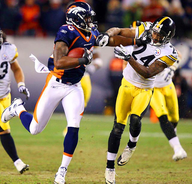 Denver receiver Demaryius Thomas stiff arms Steelers corner Ike Taylor on his way to scoring the game-winning, 80-yard touchdown on the first play of overtime. Thomas had a huge day, catching four passes for 204 yards and one score.