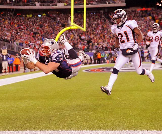 Rob Gronkowski makes an incredible diving touchdown grab against the Broncos. The big tight end had 145 yards and three touchdowns in New England's playoff victory.