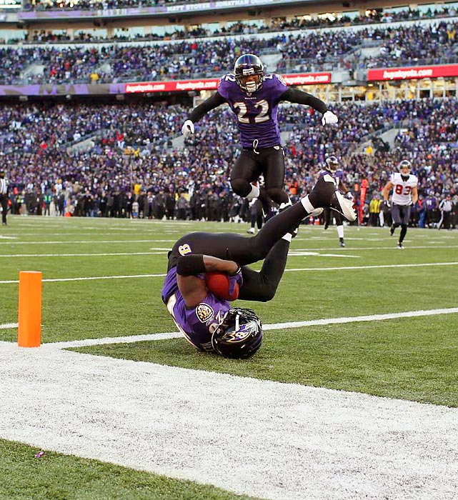 Ravens safety Ed Reed intercepts a pass in the fourth quarter of Baltimore's Divisional Playoff win over Houston.