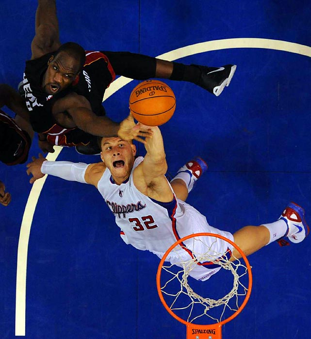 Clippers star Blake Griffin battles Heat center Joel Anthony for a rebound in L.A.'s 95-89 win over Miami last week.