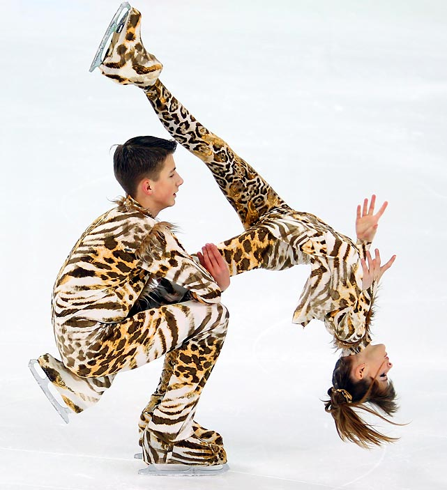 Belorussian ice dancers Yuri Gilitski and Eugenia Tkachenka perform at the Winter Youth Olympic Games in Innsbruck, Austria.