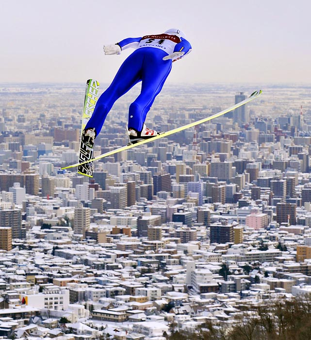 Daiki Ito of Japan soars over Sapporo en route to winning a World Cup Ski Jumping Large Hill competition.