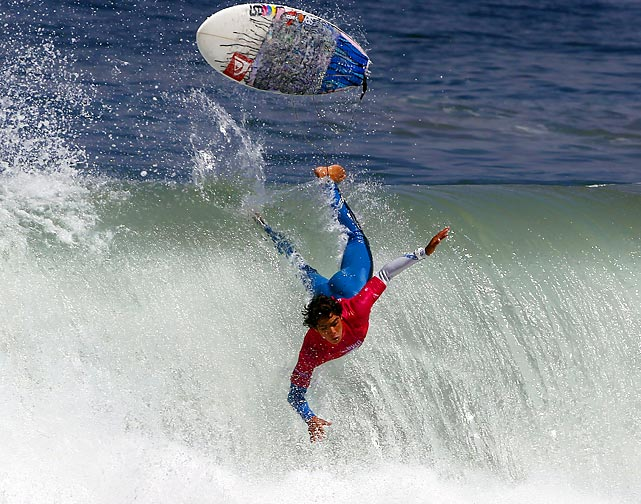 A competitor wipes out during the Billabong Renaca Pro surf tournament in Vina del Mar, Chile.