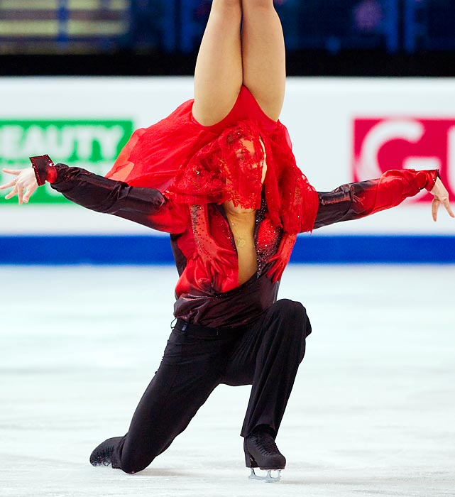 Russians Ekaterina Bobrova and Dmitri Soloviev perform in the Ice Dance Free Dance at the European Figure Skating Championships.