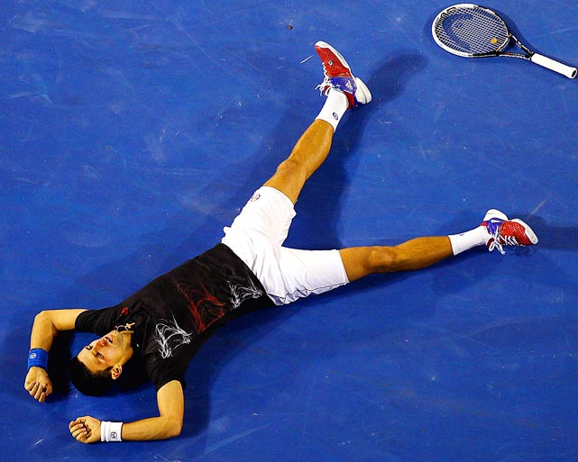 Novak Djokovic was exhausted after a 31-shot rally in the Australian Open final against Rafael Nadal. Djokovic outlasted Nadal in a marathon five-setter that took an Open era-record five hours and 53 minutes to complete.
