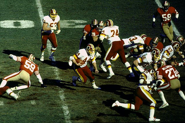 Washington entered the fourth with a commanding 21-0 lead, but the 49ers mounted a furious comeback, tying the game at 21 with just over seven minutes left. The Redskins responded with a clinical 13-play, 78-yard drive that took six minutes off the clock and set up kicker Mark Moseley -- who was 0-for-4 on field goals in the game -- for his game-winning 25-yarder.  Washington's John Riggins (44) rushed for 123 yards and two touchdowns.