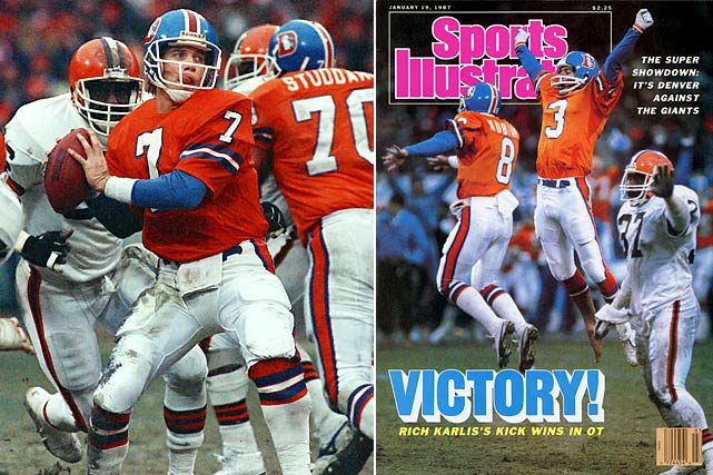 "Browns fans, avert your eyes. John Elway led the Broncos on ""The Drive,"" a 98-yard, five minute masterpiece to tie Cleveland at 20 with 37 seconds left in regulation. The Broncos would go on to win in overtime, getting a 33-yard field goal from kicker Rich Karlis to win 23-20. It was the first of two consecutive gut-wrenching AFC championship defeats Denver would hand Cleveland."