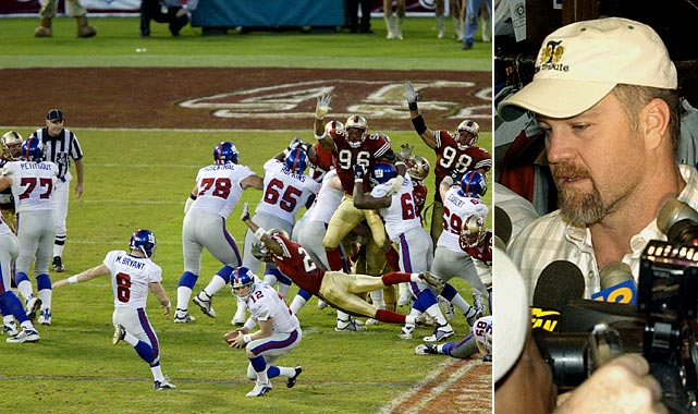 One of the wildest games in playoff history, this 02' Wild-Card game came down to 41-year-old Giant long snapper Trey Junkin. Junkin, who New York signed out of retirement less than a week before the game, botched two field goal snaps in the final three minutes, allowing the 49ers to complete a remarkable 24-point second half comeback.