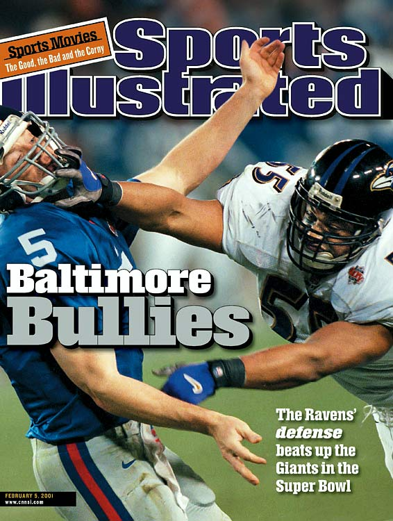 New York quarterback Kerry Collins had a nightmare game against Ray Lewis and the Ravens defense, going 15 of 39 for 112 yards and throwing four interceptions. The Giants offense gained just 152 total yards in the game.