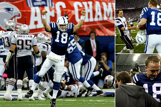 The Patriots jumped out to a 21-3 first half lead at Indianapolis but couldn't hold on, giving up 32 points in the second half to fall to Peyton Manning and the Colts 38-34. The comeback is still the largest in conference championship history.