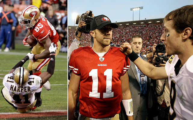 "Who would've thought Alex Smith could outgun Drew Brees? The embattled 49ers quarterback went toe-to-toe with the record-setting Saints QB in the Divisional round, trading a pair of lead-changing touchdowns with Brees in the final four minutes to give San Francisco a dramatic 36-32 victory. The lasting image: Smith hitting tight end Vernon Davis left for ""The Catch III"" -- a game-winning, 14-yard touchdown that came with just nine seconds left."