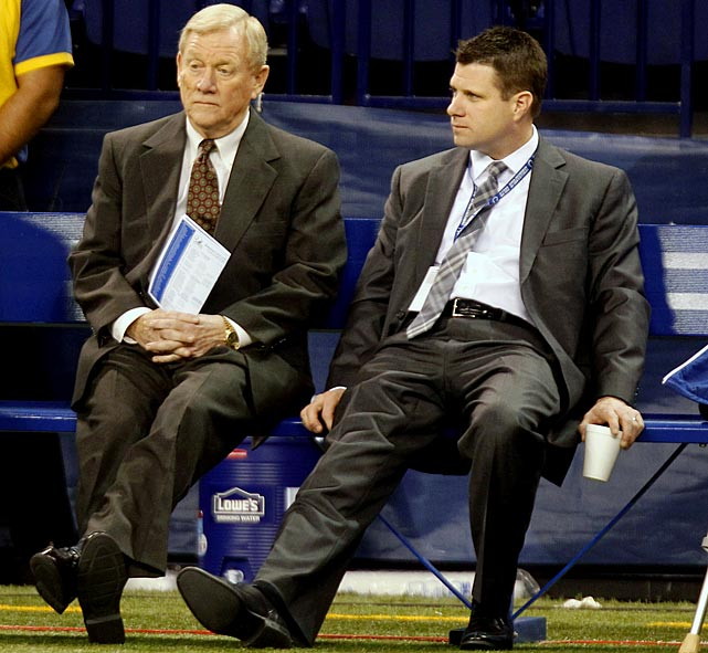 Less than 24 hours after concluding a miserable 2-14 season with injured quarterback Peyton Manning on the bench, Colts owner Jim Irsay began rebuilding the front office by firing longtime executive Bill Polian and his son Chris, the team's GM.  The elder Polian was the architect of the Colts' success, drafting Manning in his first year on the job in 1998 and assembling the squad that won the 2007 Super Bowl.