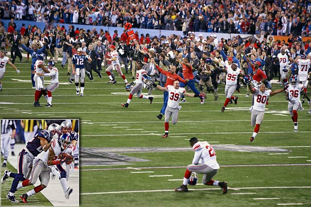 Eli Manning and the Giants upset the Tom Brady-led Patriots in the Super Bowl for the second time in five years, getting a late touchdown from running back Ahmad Bradshaw to beat New England 21-17. A dramatic late reception again keyed the Giants victory, with Mario Manningham following up David Tyree's 2008 helmet catch with an acrobatic snag of his own.  A Hail Mary attempt by the Patriots fell short on the final play of the game.