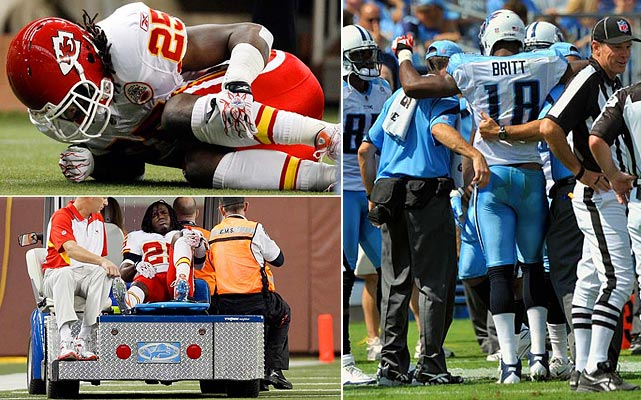 Top-flight fantasy players Jamal Charles and Kenny Britt both tore their ACLs early in the season. Britt played in three games for the Titans while Kansas City's Charles went down in Week 2.