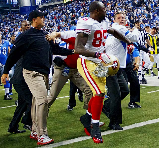 After the 49ers defeated the then-undefeated Detroit Lions in Week 6, San Francisco coach Jim Harbaugh was a little too enthusiastic when he slapped Detroit coach Jim Schwartz on the back. Schwartz took it personally and a fight nearly ensued.