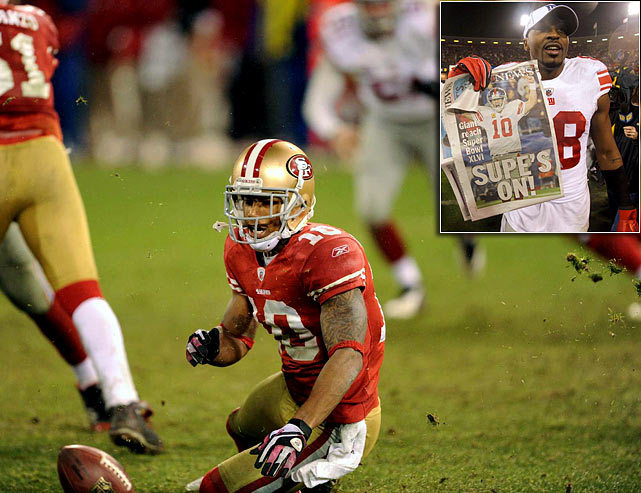 49ers punt returner Kyle Williams lost two late fumbles -- one off of his knee -- to allow the Giants to tie the NFC Championship in the fourth and then win it 20-17 in overtime. The New England-New York Super Bowl matchup is a rematch of the 2008 classic that saw Eli Manning, David Tyree and the Giants beat the previously undefeated Pats 17-14.