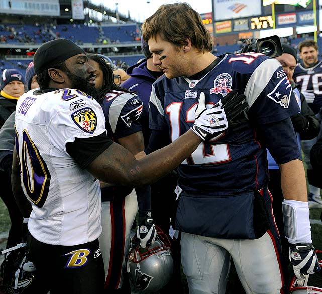 Brady has traditionally struggled against Reed and the Ravens, throwing six touchdowns, six interceptions and fumbling the ball away twice in five career games against Baltimore. In contrast, Reed is usually good against the Patriots, picking Brady off twice in four games against New England. He'll try to keep that trend going on Sunday at Gillette Stadium.
