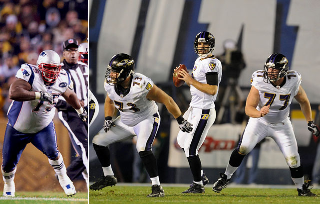 The Ravens' interior offensive line is stout, but they'll need to play very well to keep Wilfork in check. The Patriots' huge nose tackle is a monster and playing well lately. If Yanda, Birk and Grubbs aren't careful, Wilfork could end up making life miserable for Baltimore's offense.
