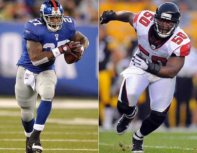 The Giants finished the regular season with the league's worst yards per carry average and likely won't run for many yards against the sixth-ranked Falcons rush defense. But running backs Brandon Jacobs and Ahmad Bradshaw are always threats in the red zone and Atlanta linebackers Sean Witherspoon, Curtis Lofton and rookie Spencer Adkins -- regular outside linebacker Stephen Nicholas was listed as doubtful on Tuesday night, meaning Adkins will likely make his second career start on Sunday -- will need to keep a close eye on New York's backfield duo.